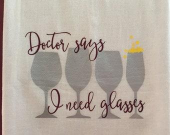 Wine Glasses Flour Sack Towel