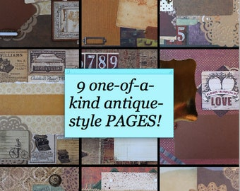 Vintage & Antique Handmade Scrapbook Pages- 9 Complete 12x12 Layouts w/ Page Protectors