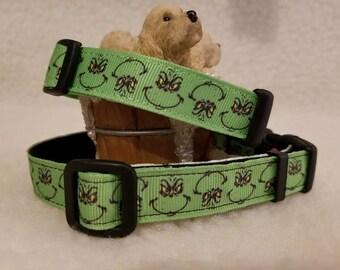 Grinch Christmas Handmade Dog Collar 5/8 Inch Wide