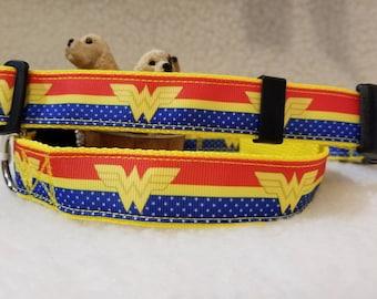 Super Hero Handmade Dog Collar 1 Inch Wide Large & Medium Only