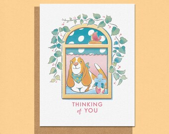 Thinking of you Basset Greeting Card