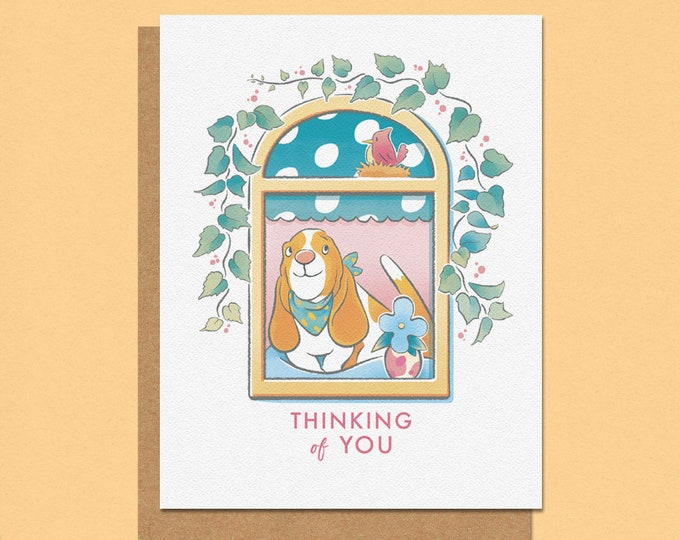 Featured listing image: Thinking of you Basset Greeting Card