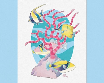 Tropical Fish & Coral Art Print