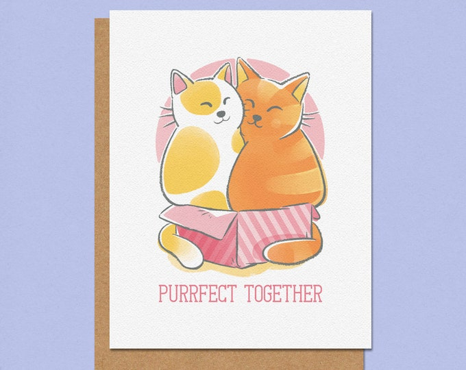 Featured listing image: Purrfect Together Greeting Card