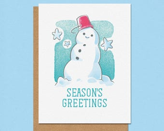 Season's Greetings Jolly Snowman Greeting Card
