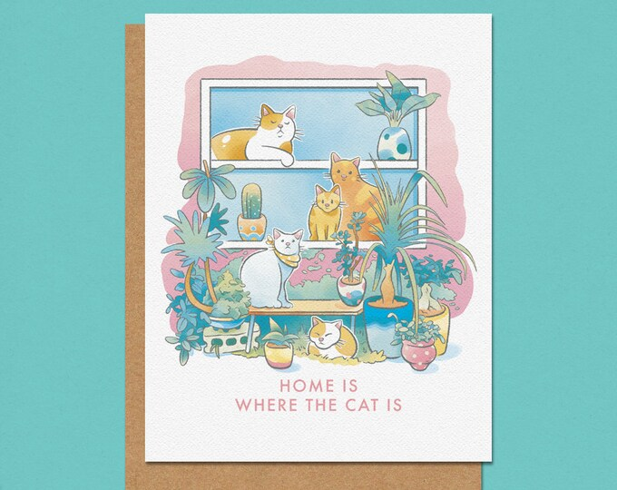 Featured listing image: Home is Where the Cat is Greeting Card