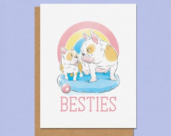 Besties French Bulldog Friendship Greeting Card