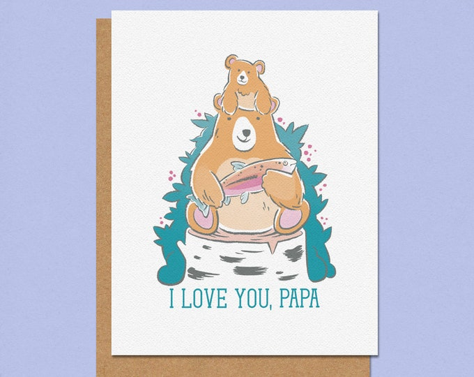 Featured listing image: I Love You Papa Bear Greeting Card