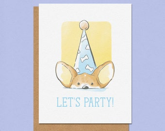Lets Party Corgi Greeting Card