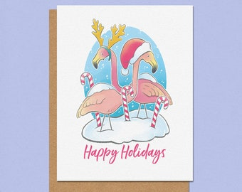 Happy Holidays Flamingo Greeting Card