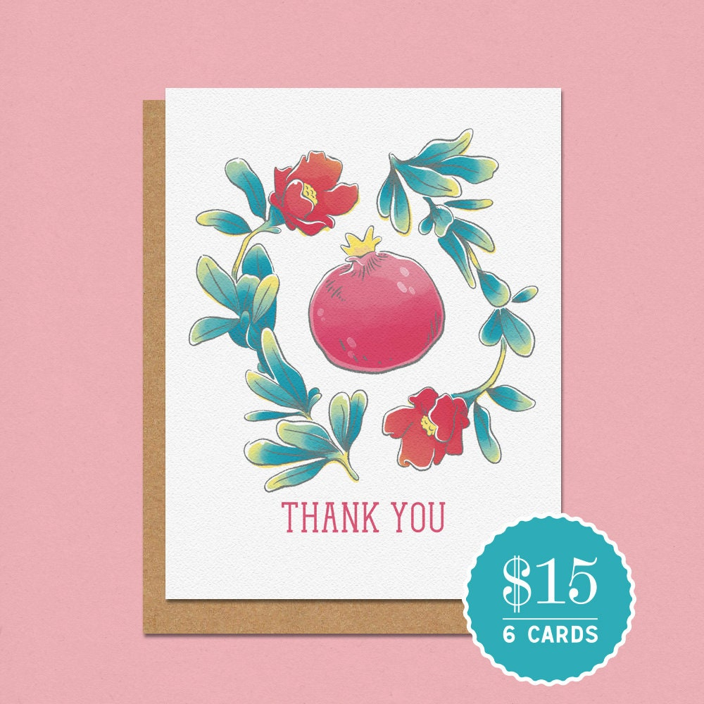 Thank You Pomegranate Greeting Card