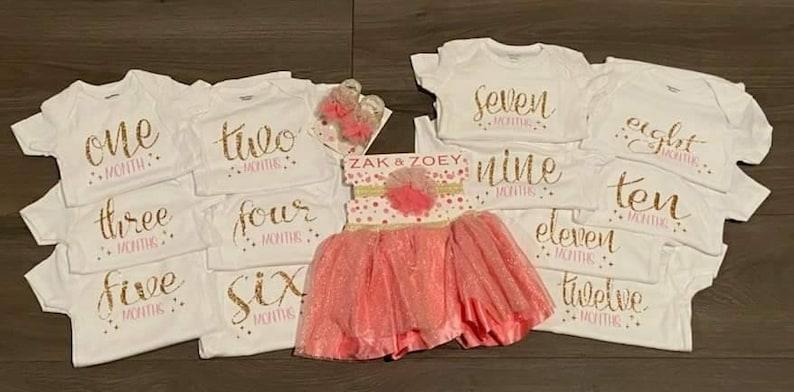 Sprinkle gift New Moms Onesie First Baby Girl Milestone Bodysuit Baby shower gift Princess onesie Baby onesie Monthly outfit