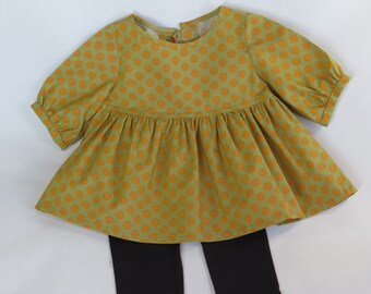 Green with yellow dot dress