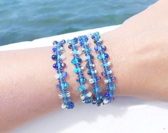 Beaded Wrap bracelet 4 layers boho macrame in blues seed bead bollywood bracelet