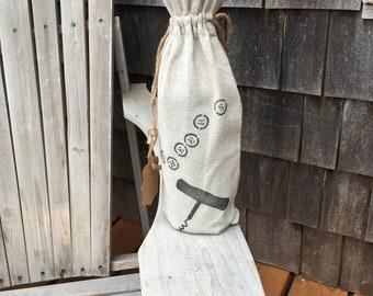 Handpainted linen gift bag, wine, coffee, oil or vinegar, hostess gift, handpainted reusable.