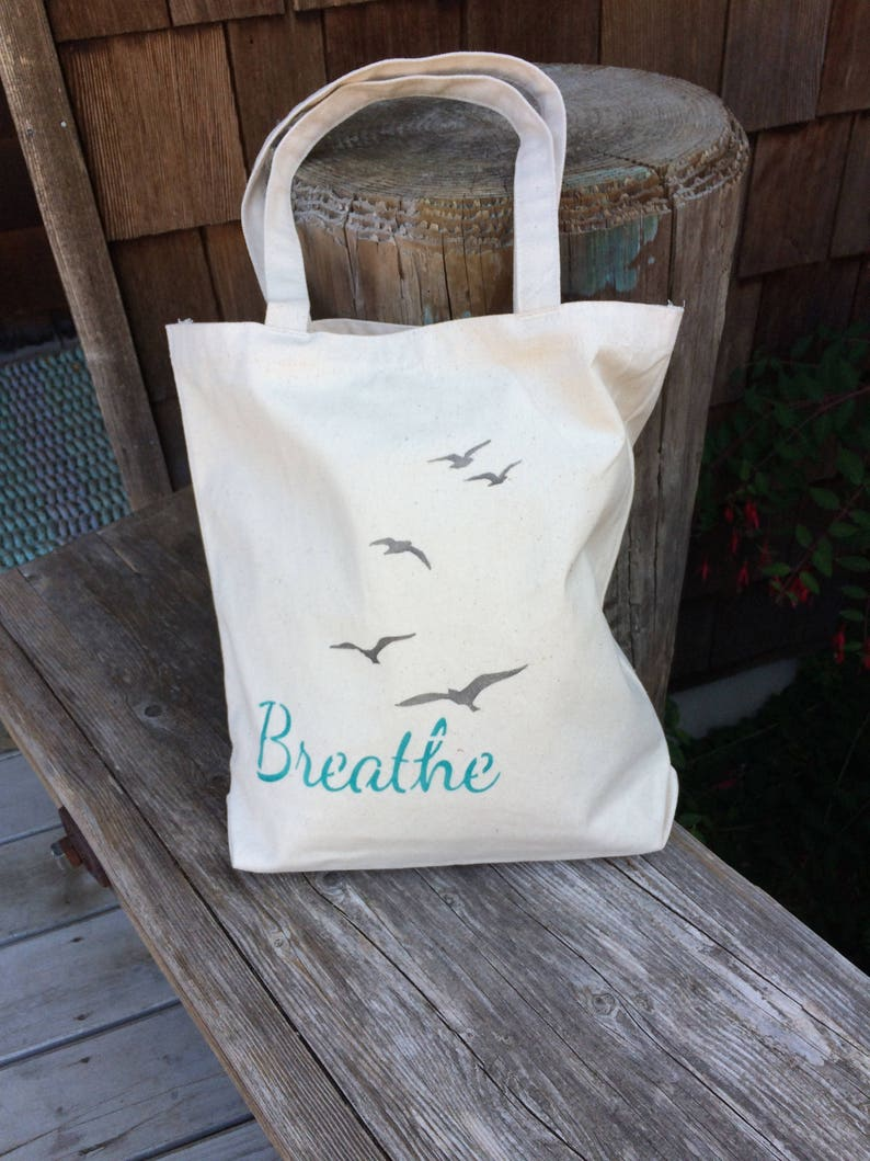 Beach style BREATHE handpainted cotton bag canvas tote for image 0
