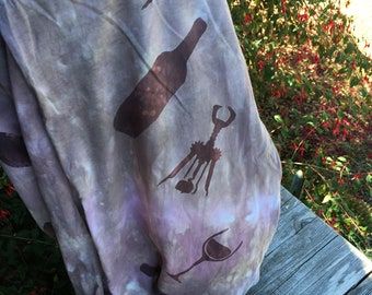 Wine lovers cotton loop scarf, hand dyed and handpainted OOAK comfy jersey  infinity scarf in soft colors.