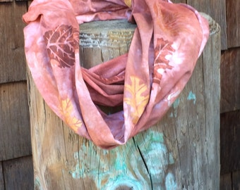 Fall leaves cotton loop scarf, hand dyed and hand painted OOAK comfy jersey  infinity scarf in fall colors. Soft and warm.