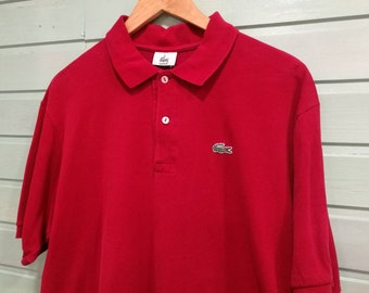 651bfc3c2 VINTAGE LACOSTE POLO  vintage  Vintage clothing  Vintage polo  lacoste  Plus  Size  unisex  Vintage for men red Polo