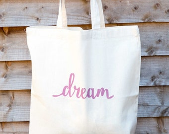 Pink Dream print cotton tote bag