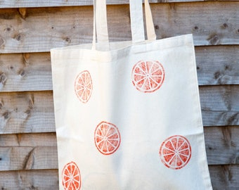 Orange print cotton tote bag