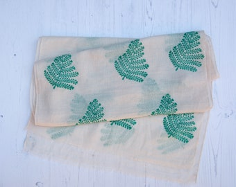 Fern Leaf 100 % Cotton Scarf