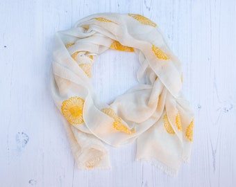 Yellow Sunflower 100 % Cotton Scarf