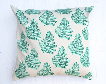 Fern Leaf Block Printed Cushion