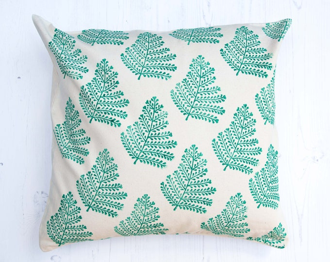 Featured listing image: Fern Leaf Block Printed Cushion