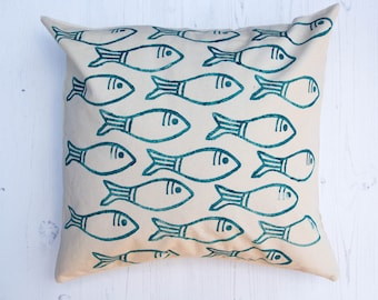 Fish Pattern Block Printed Cushion