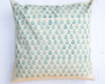 Repeat Crest Blue Block Printed Cushion