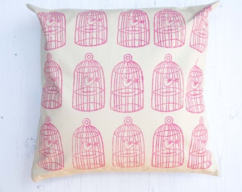 Pink Bird Cage Block Printed Cushion
