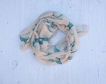 Fish Print 100 % Cotton Scarf