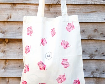 Red Cupcake cotton tote bag
