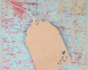 24 gift tags with heart cut outs cardstock