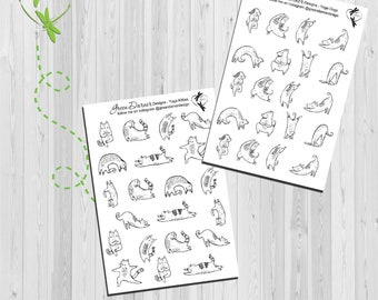 Yoga Kitties and Dogs - Fitness/workout/exercise planner stickers - Happy Planners, Erin Condren, Recollections by Green Darner Designs