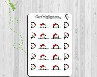 Pearl the Penguin - Peeking -  fun functional planner stickers - Happy Planners, Erin Condren, Recollections by Green Darner Designs
