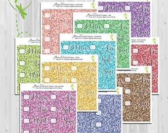 Glitter Date Covers - for the Erin Condren, Happy Planner or Big Happy Planner - Gemstone Collection - by Green Darner Designs