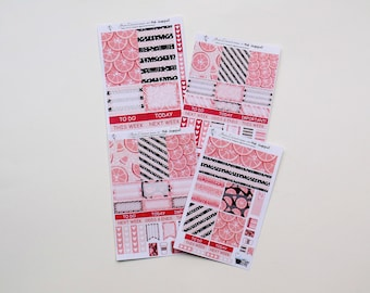 Pink Grapefruit - Sampler planner sticker sheet - functional planner stickers for Happy Planners and Erin Condren  by Green Darner Designs