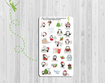 Pearl the Penguin - Winter Bucket List planner stickers - Christmas - Happy Planners, Erin Condren, Recollections by Green Darner Designs