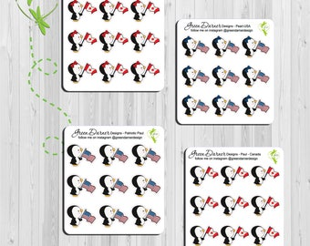 Pearl the Penguin - Patriotic Pearl/Paul - Canada or USA - Happy Planners, Erin Condren, Recollections by Green Darner Designs