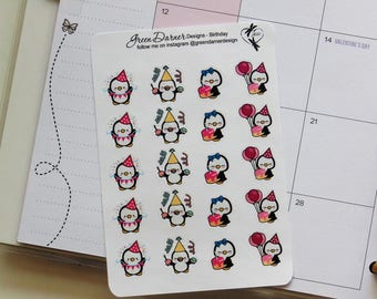 Pearl the Penguin - Birthday - functional planner stickers - Happy Planners, Erin Condren, Recollections by Green Darner Designs