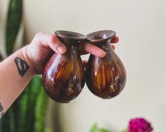 Flared Top Center Ring Vintage Amber Bud Vase