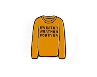 Sweater Weather Forever Enamel Pin (Mustard)