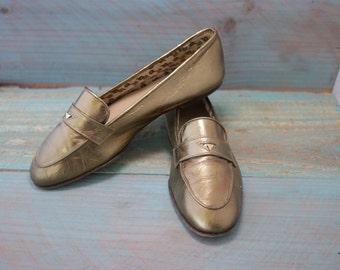 5d73952d2 Rare Vintage Womens Gucci Carpetto Metallic Bronze/ rose gold shoes, Horse  bit icon , Gucci crest, Original Box. size Euro: 37-38 US 7