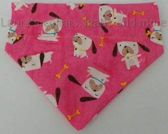 Handmade pink dog fabric over collar bandana , dog bandana , slip on bandana , dog fashion , pink dog