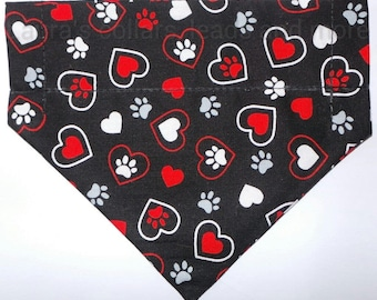 Handmade paw and hearts dog fabric over collar bandana , dog bandana , slip on bandana , dog fashion , paw and hearts
