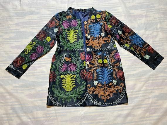 kaftan long jacket coat robe plus size #a11365 caftan vintage natural silk embroidered suzani uzbek chapan