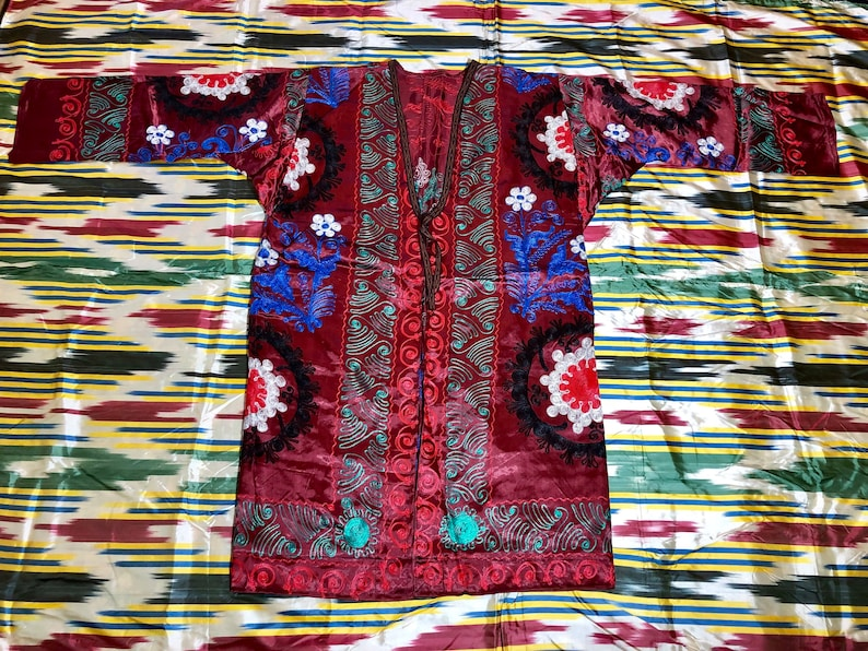 Antique Uzbek Vintage Handmade Embroidery Suzani Robe Dress Chapan Jacket Coat Linens & Textiles (pre-1930)
