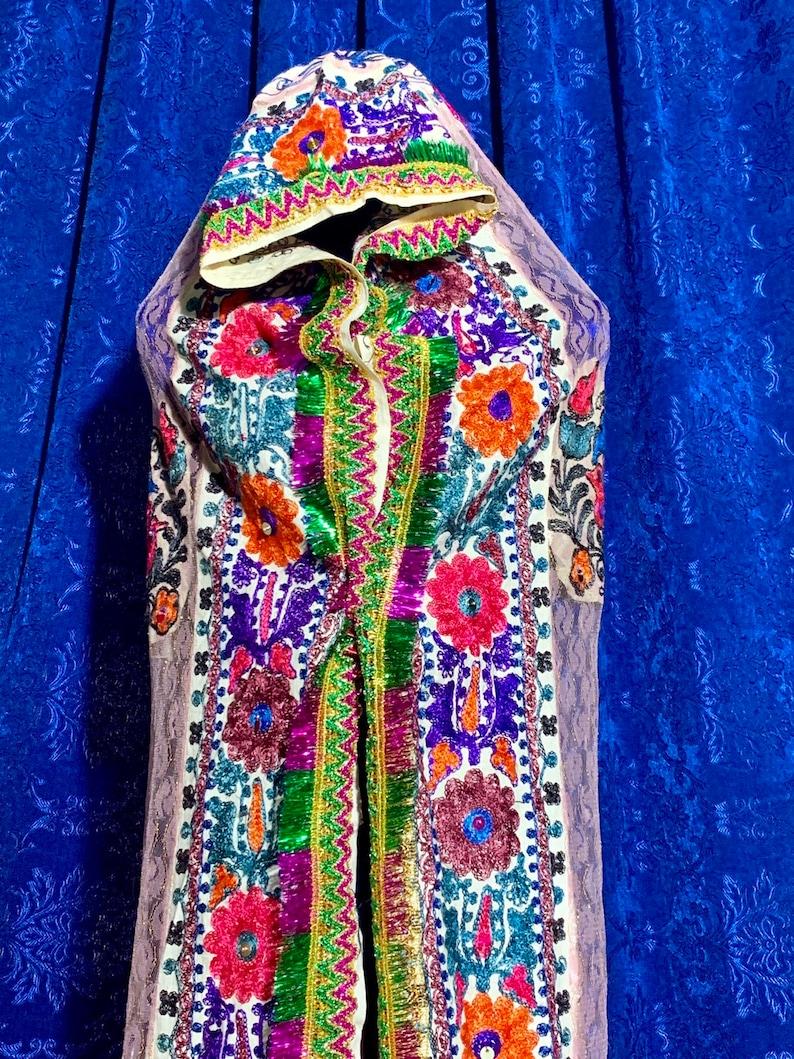 Uzbek Vintage BRIDAL LACE Embroidered VEIL